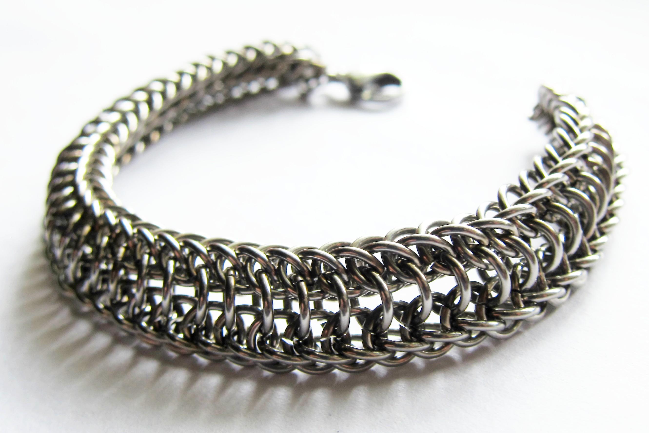 Мужской стальной браслет классического плетения - заказать в магазине Ручная Сталь